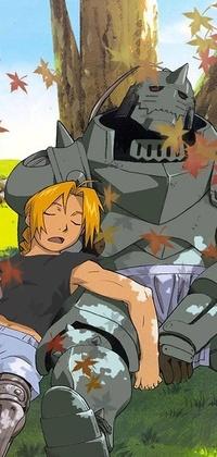 Спящие Эдвард и Альфонс Елрики подойдут для аватарки фанатам аниме Стальной алхимик.