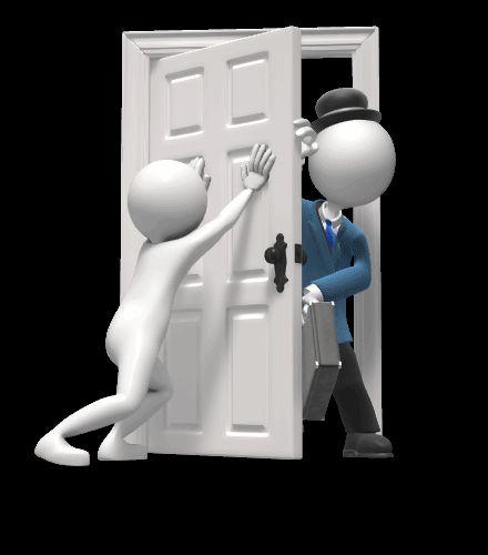 Гифка для презентации, где настойчиво предлагают услуги, ломясь в дверь