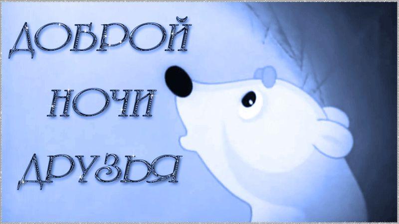 Гифка Спокойной ночи с белым медведем