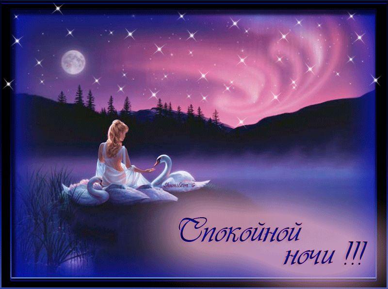 Гифка Спокойной ночи с лебедями