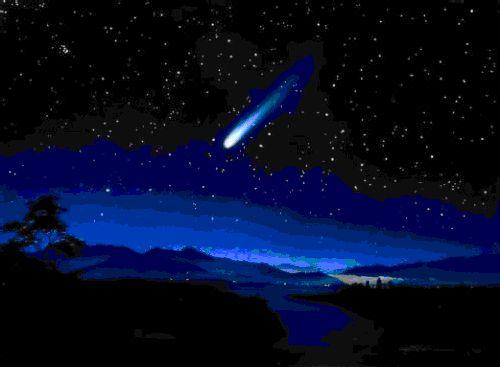 Гифка Спокойной ночи синее звездное небо