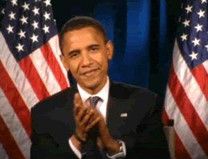 Гифка аплодисменты Барака Обамы