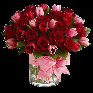 гифка ваза с розами и тюльпанами