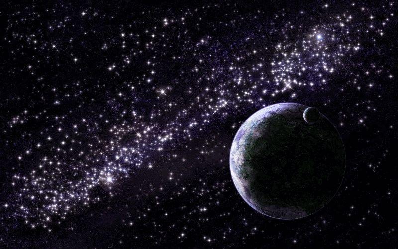 Планета на мерцающем звездном фоне