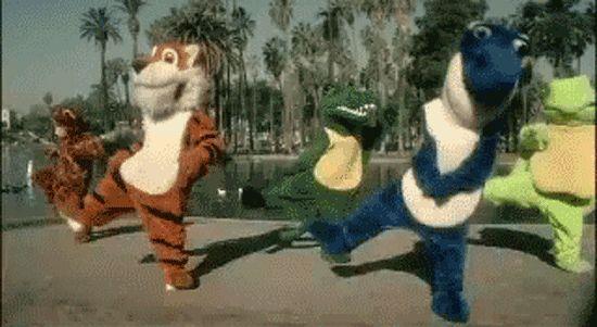 Гифка танцуют звери