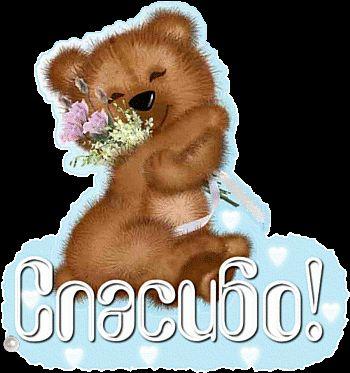 мишка с цветами спасибо сердечки