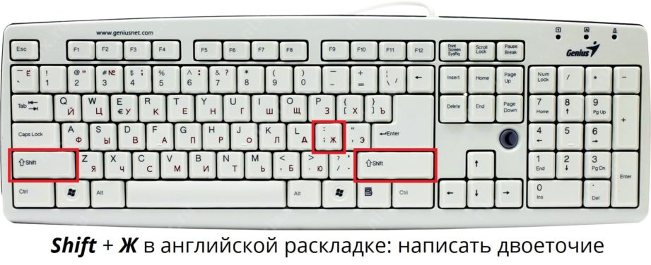 Как поставить двоеточие на клавиатуре Windows или Mac iOS