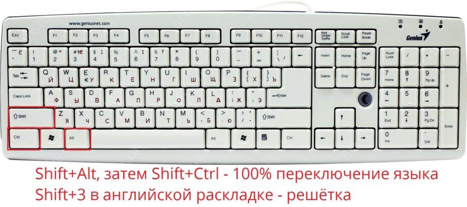 Как поставить решетку на клавиатуре: два простых способа