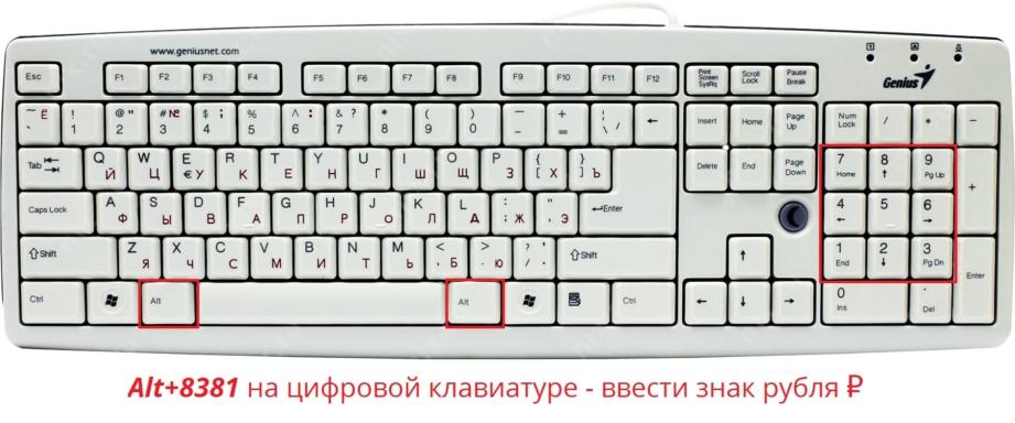 Как набрать знак рубля на клавиатуре? Почему не отображается?
