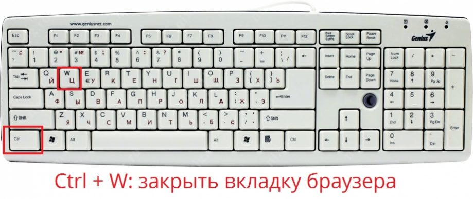 Сочетание клавиш чтобы закрыть вкладку браузера