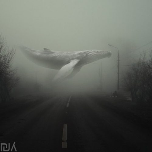 Синий кит над дорогой
