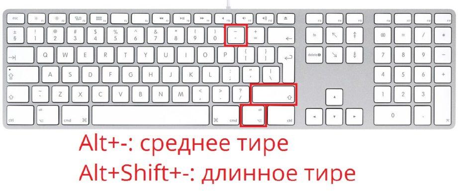 как ввести длинное тире на клавиатуре Mac